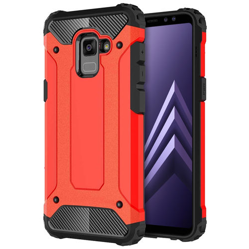 Military Defender Shockproof Case - Samsung Galaxy A8+ (2018) - Red